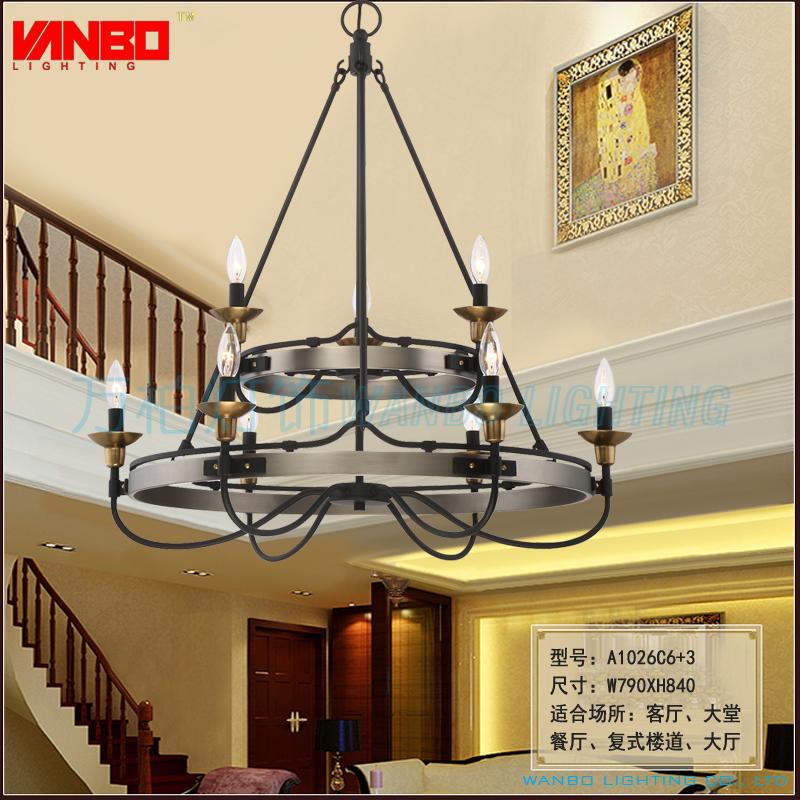 欧式美式餐厅吊灯客厅楼道灯酒店客房铁艺灯chandelier lighting