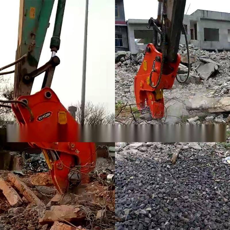 大型拆除液压钳,挖掘机液压粉碎钳,粉碎混凝土方法图片