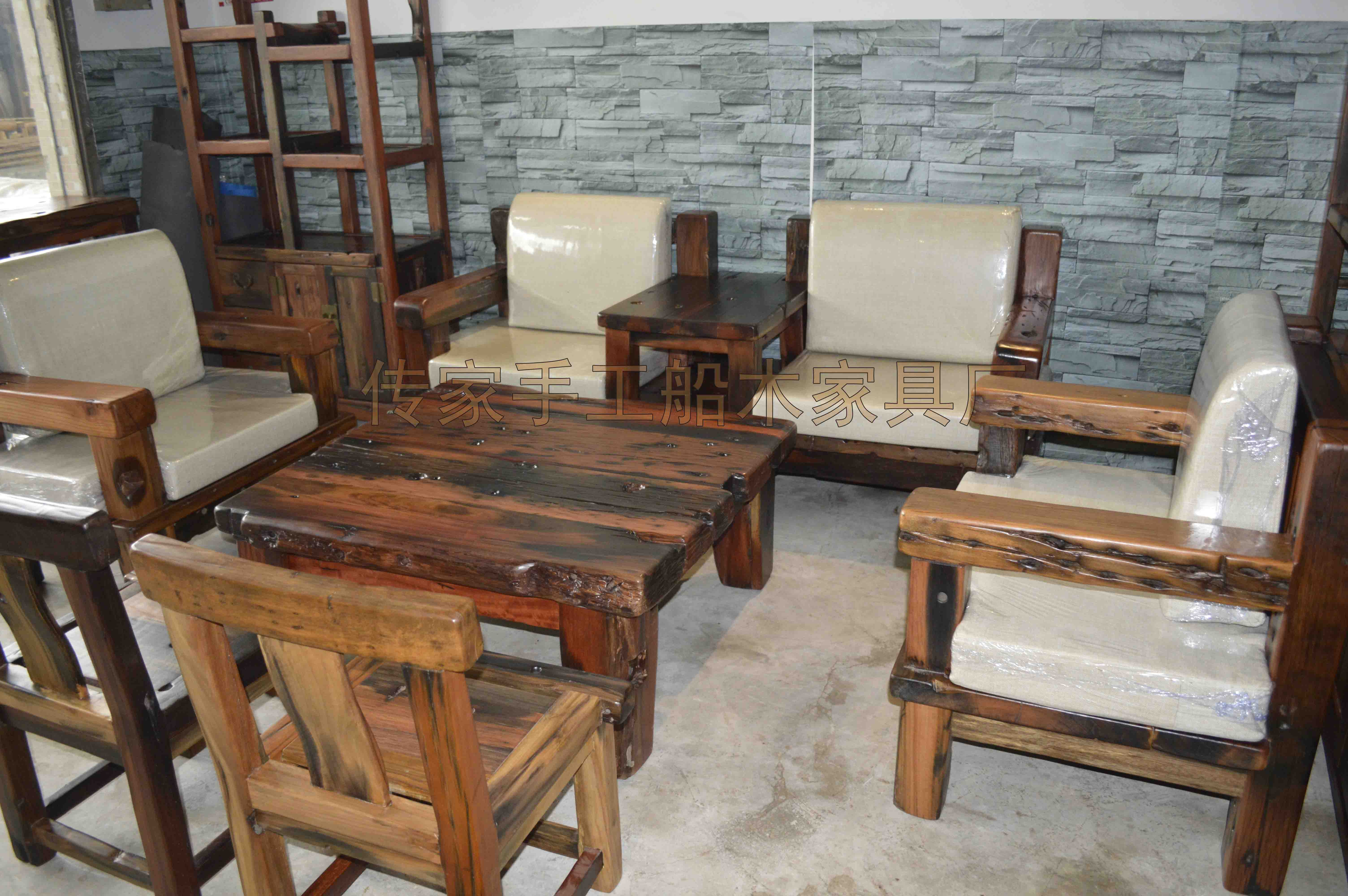 船木接待沙发 厚垫沙发套 船木家俱