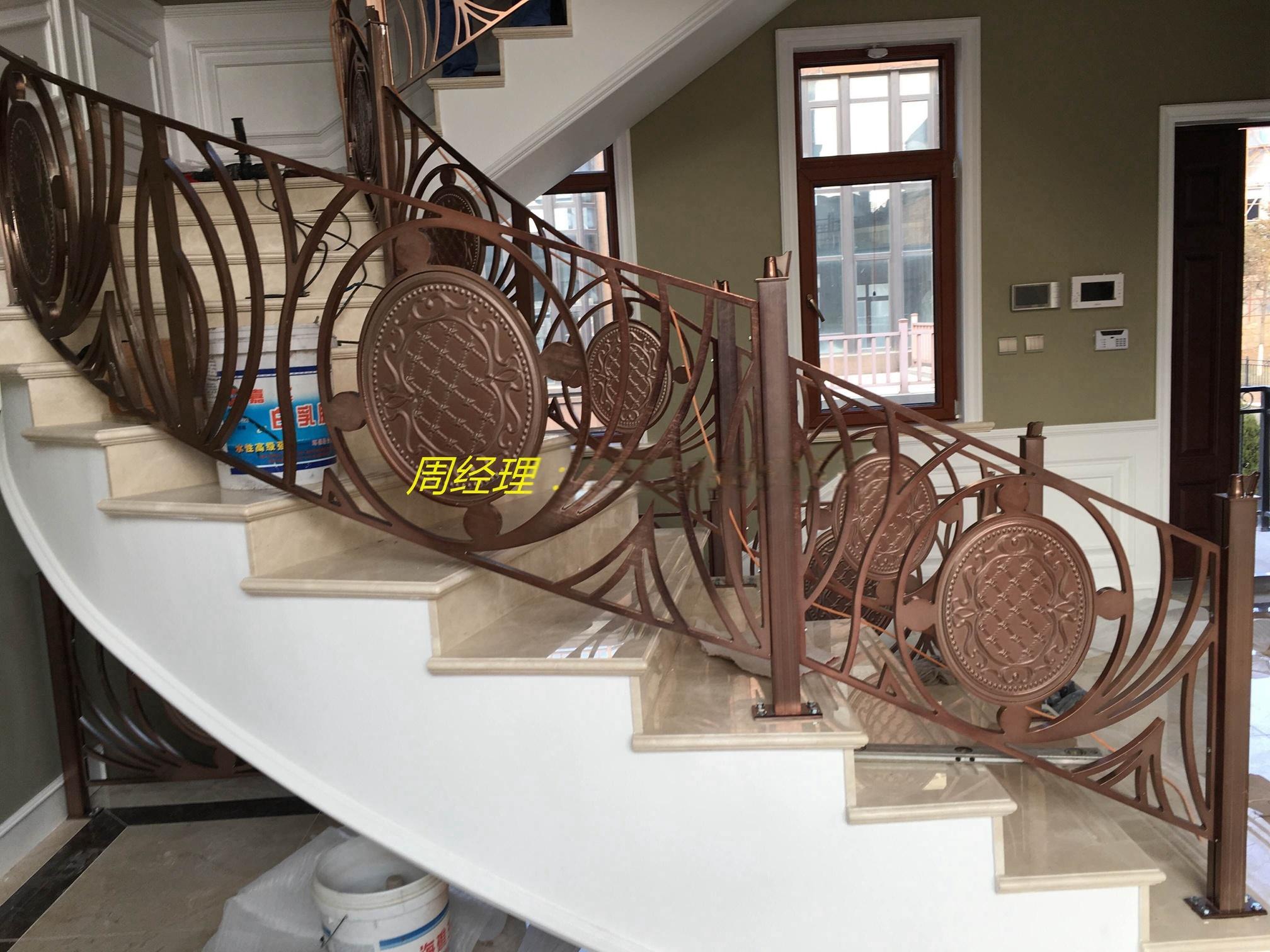 高档别墅欧式铝雕刻楼梯护栏
