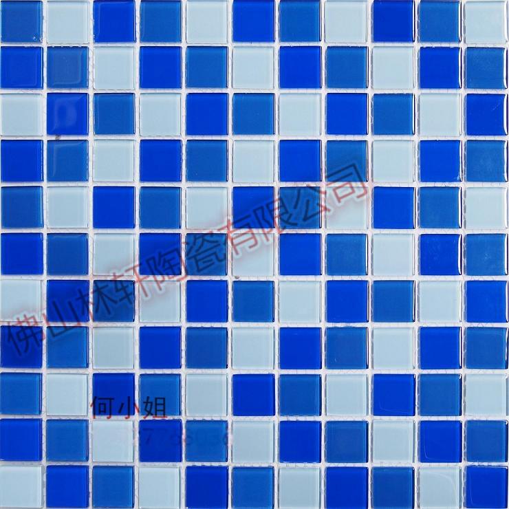 特价水晶玻璃马赛克 经典三色蓝泳池瓷砖