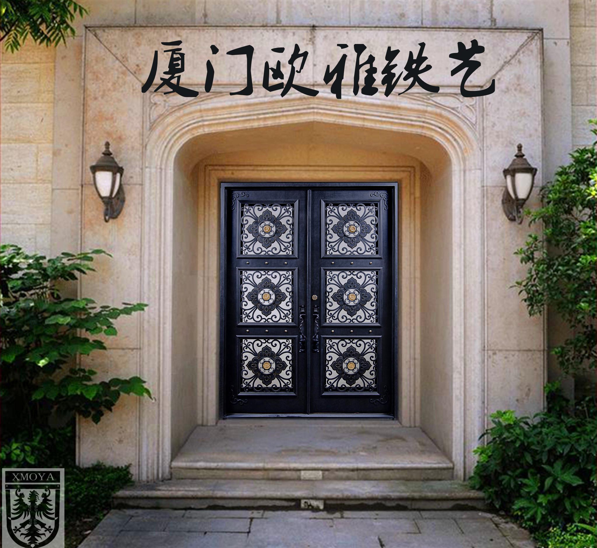 厦门欧雅铁艺高端入户门,纯手工定制欧式铁艺门,隔热防暴大门