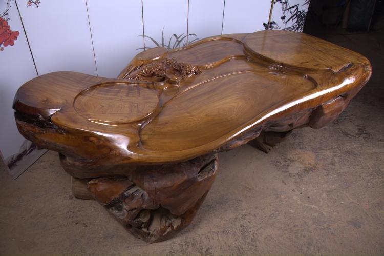 《思贺木业》楠木205-90-75根雕茶桌原木雕刻茶几树根