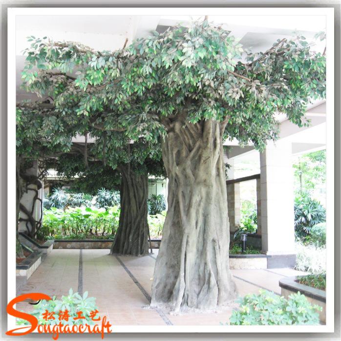 模拟包柱子树2.8m 餐厅装饰假树安装 厂家批发假榕树大门