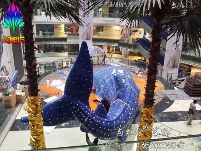 广州玻璃钢雕塑泡沫雕塑sdfl10m模拟鲸鱼造型商场中庭