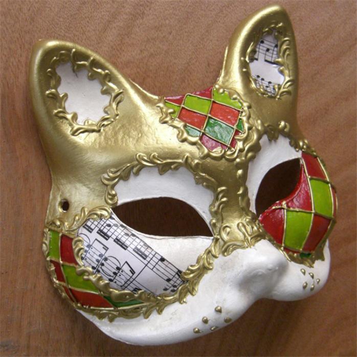 直销万圣节装扮舞会猫脸面具手绘面具批发动物面具