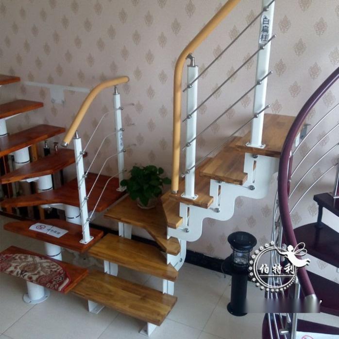 钢木楼梯之双梁楼梯特点: 1,价格适中:一般12-13步楼梯,价格在5000元