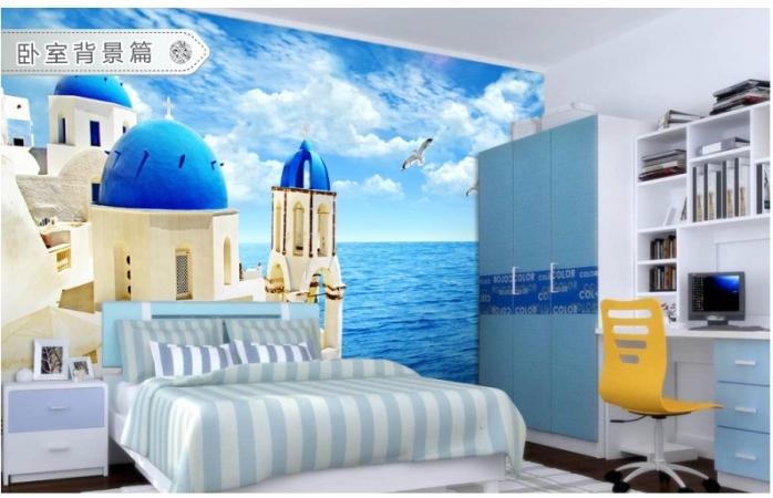 3d立体海底海洋世界电视背景墙纸主题房餐厅儿童房卧室沙发大型壁画