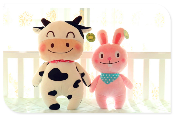 可爱奶牛公仔抱枕卡通熊熊兔兔青蛙动物毛绒布娃娃节