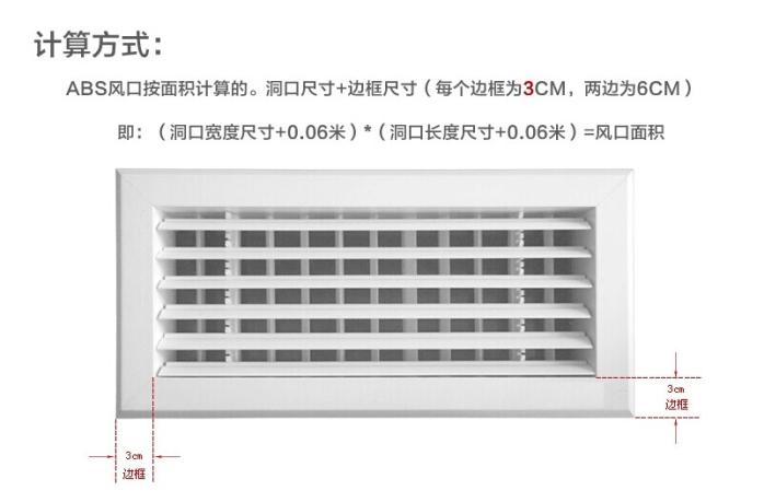 风口面积计算方式: abs风口按面积计算,开孔尺寸+边框尺寸(每个边框