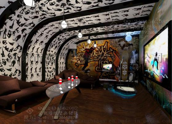 量贩式ktv装修壁画 3d手绘墙画图片 酒吧彩绘壁画厂家