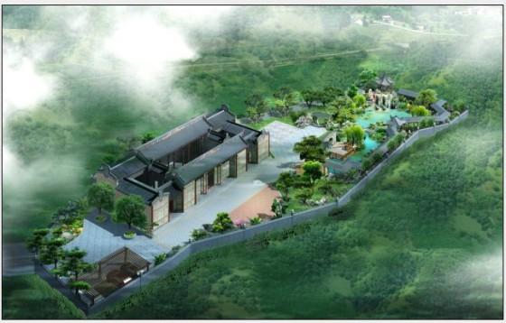 古式建筑效果图,四合院设计, 园林绿化方案设计