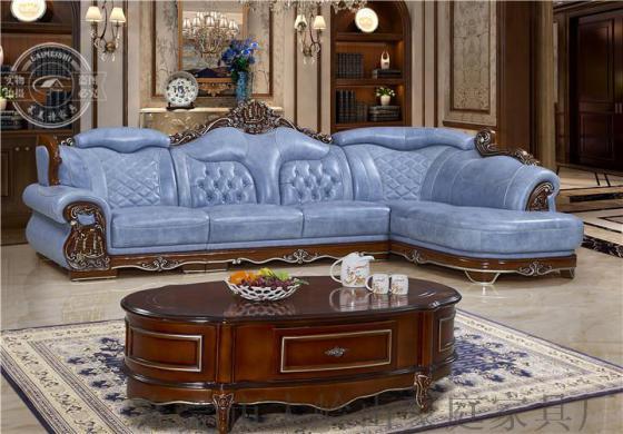 莱美诗708#欧式进口皮沙发客厅组合简约现代皮艺转角
