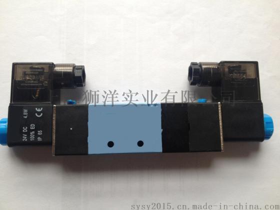 气动元件电磁阀 4v130-06/m5-220v/24v气缸配件控制阀三位五通图片