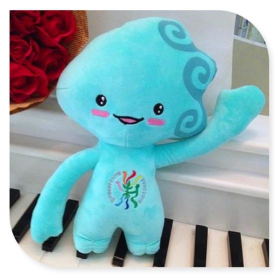 2014青岛世园会吉祥物 毛绒玩具 海精灵青青 公仔节日