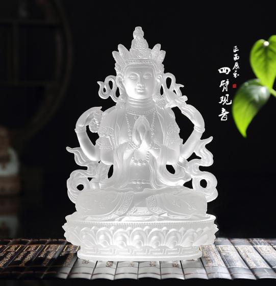 琉璃观音,琉璃四臂观音菩萨,深圳琉璃佛像生产厂家,佛山琉璃佛像批发