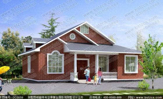 装潢设计 造价15万一层带阁楼带走廊农村自建房全套