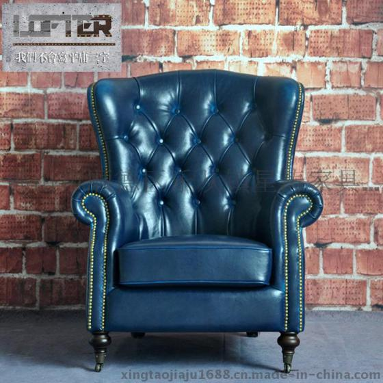 美式拉扣真皮沙发椅酒店咖啡厅单人高背欧式皮艺复古