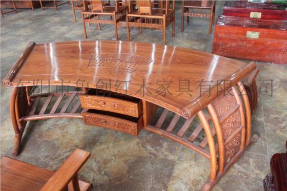 扇形带抽茶桌厂家直销花梨木红木家俱价格,东阳木雕款式图,明清古典家