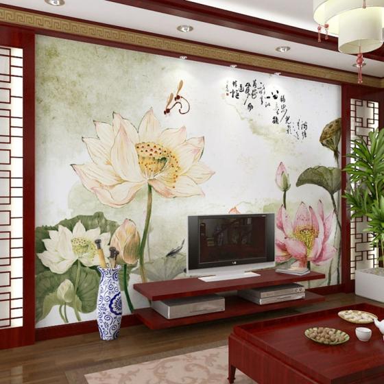 水墨荷花背景壁画 中式现代国画影视墙壁纸无纺布墙纸