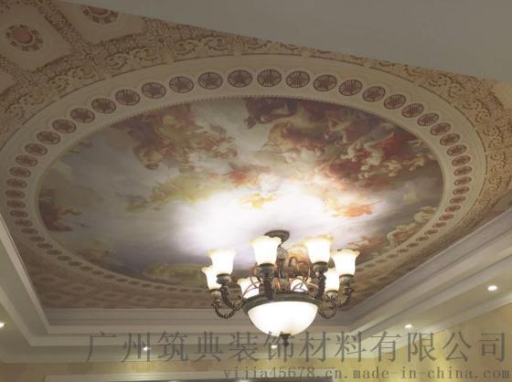 法式吊顶壁纸 3d立体天花板墙纸
