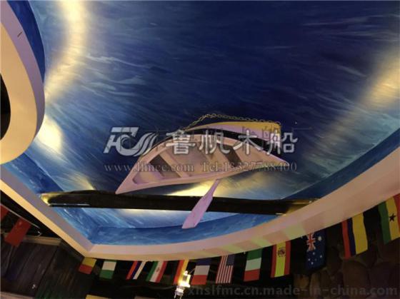 经典欧式尖头木船|酒店餐厅高档装饰吊顶小木船|鲁帆